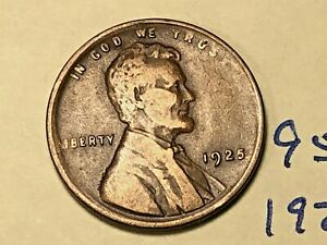 1925 1C BN LINCOLN CENT 9553W WHEAT PENNY
