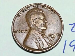 1939 D LINCOLN WHEAT CENT FINE PENNY 2626K