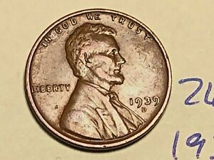 1939 D LINCOLN WHEAT CENT FINE PENNY 2645K