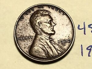 1939 D LINCOLN WHEAT CENT FINE PENNY 4522K