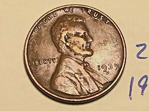 1939 D LINCOLN WHEAT CENT PENNY 2581K