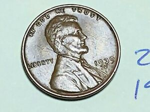 1939 D LINCOLN WHEAT CENT FINE PENNY 2654K
