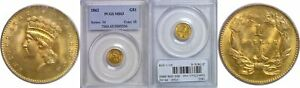 1862 $1 GOLD COIN PCGS MS 63