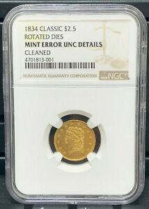 Click now to see the BUY IT NOW Price! 1834 $2.5 CLASSIC HEAD GOLD COIN UNC DETAILS MINT ERROR ROTATED DIES   1ST EVER