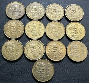 LOT OF 13X MEXICO 100 PESOS COINS   VARIOUS DATES