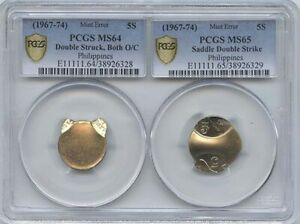 1967 74  2 PC. SET PHILLIPINE ERRORS PCGS