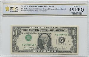 1974 $1 NOTE INVERTED 3RD PRINTING  PCGS