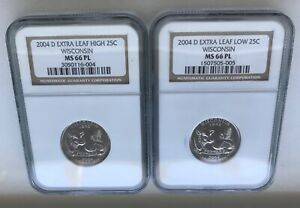 Click now to see the BUY IT NOW Price! 2004 D WISCONSIN EXTRA HIGH & LOW LEAF 25C ERRORS BOTH NGC MS 66 PL PROOF LIKE