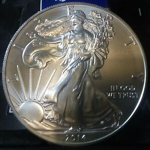 2014 US 1 OZ SILVER EAGLE DOLLAR 99.9  SILVER COIN IN COIN CAPSULE