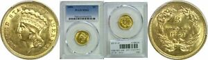 1854 $3 GOLD COIN PCGS MS 62