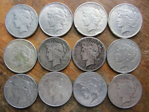 LOT OF 12 LOW GRADE / CULL PEACE SILVER DOLLARS 90  JUNK SILVER