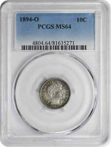 Click now to see the BUY IT NOW Price! 1894 O BARBER SILVER DIME MS64 PCGS