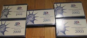 1999 TO 2003 PROOF SET 5 SETS WITH 5 STATE QUARTERS SET  BOX AND COA