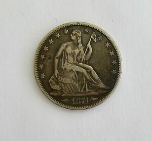 1874 SILVER SEATED HALF DOLLAR COIN W/ ARROWS AT DATE  NATURAL PATINA
