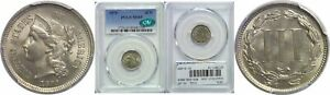 1870 NICKEL THREE CENT PIECE PCGS MS 65 CAC