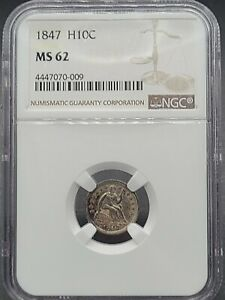 1847 SEATED LIBERTY HALF DIME H10C   NGC MS62 BRILLIAN UNCIRCULATED   LUSTROUS