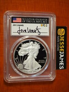 2019 W PROOF SILVER EAGLE PCGS PR70 FIRST DAY ISSUE JIM LICARETZ SIGNED POP 25