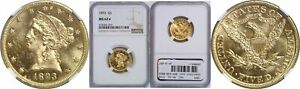 1893 $5 GOLD COIN NGC MS 62 STAR
