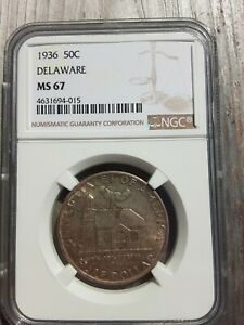 Click now to see the BUY IT NOW Price! 1936 DELAWARE COMMEMORATIVE HALF NGC GRADED MS67