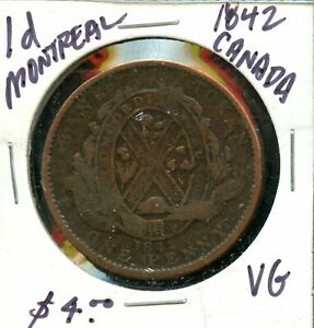 1842 CANADA ONE PENNY BANK TOKEN FS203