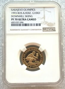 Click now to see the BUY IT NOW Price! BOSNIA 1993 DOWNHILL SKIER 10000 DINARA NGC PF70 GOLD COIN PROOF