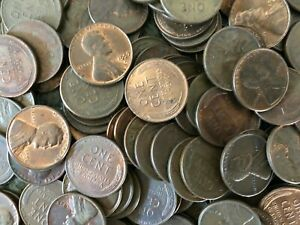 COIN GRAB BAG LOT OF OLD US WHEAT CENTS AND STEEL CENTS XF AU CONDITION