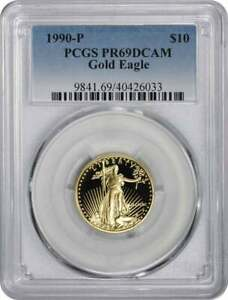 Coin in Capsule 1990-P American Gold Eagle Proof 1//10 oz $5