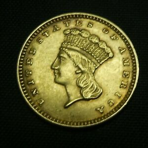 1874 $1 GOLD INDIAN PRINCESS LARGE HEAD TYPE 3 US COIN