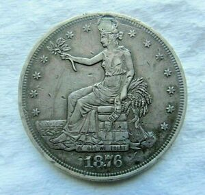 1876 P TRADE SILVER DOLLAR $1 LOW MINTAGE HOLED PLUGGED XF DETAIL