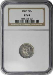 1882 THREE CENT NICKEL PR65 NGC
