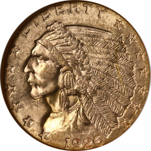 1926 INDIAN GOLD $2.50 NGC MS63 SUPERB EYE APPEAL STRONG STRIKE