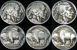 THREE COINS 1928 P 1928 D 1928 S BUFFALO NICKELS COMBINED S&H AVAILABLE GL32MV