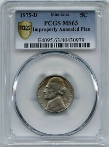 1975 D 5 IMPROPERLY ANNEALED PLAN PCGS MS 63