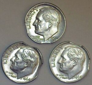 3 PCS. ROOS.10 SILVER DOUBLE CLIPPED PLANCHETS