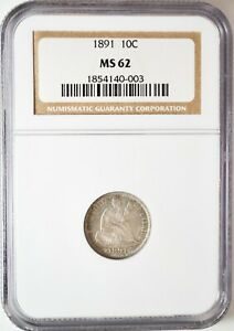 Click now to see the BUY IT NOW Price! 1891 SEATED LIBERTY DIME NGC MS62  VARIETY F 107 GREAT LUSTER GUNMETAL TONES
