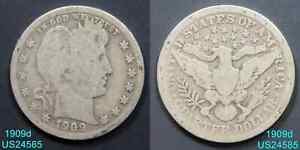 1909 D BARBER QUARTER CIRCULATED 90  SILVER COIN FROM DENVER MINT