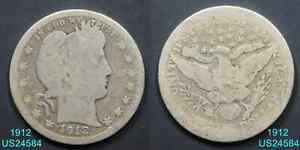 1912 BARBER QUARTER CIRCULATED 90  SILVER COIN  IN UNITED STATES