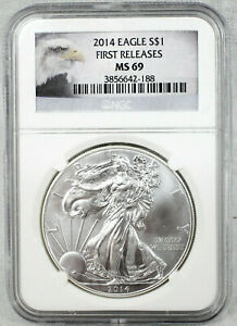 2014 AMERICAN SILVER EAGLE $1 .999 SILVER COIN | FIRST RELEASES | NGC MS 69 |