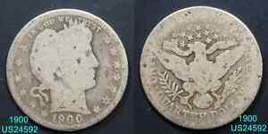 1900 BARBER QUARTER CIRCULATED 90  SILVER COIN  IN UNITED STATES