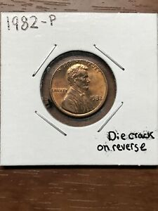 1982 P LINCOLN PENNY WITH REVERSE DIE CRACK ERROR