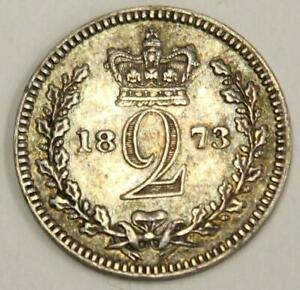 1873 GREAT BRITAIN 2 PENCE SILVER COIN EF40
