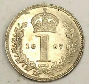 1897 GREAT BRITAIN 1 PENCE MAUNDY SILVER COIN CHOICE