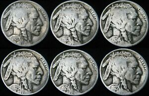 SIX COINS 1920 1923 1924 1925 1926 1927 BUFFALO NICKEL COMBINED S&H AVAIL GK15UP