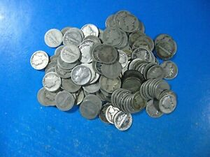 MERCURY DIMES MIXED DATES 1916 TO1929 APROX 35  MINT MARKED ROLL OF 50 DIMES