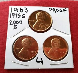 BEAUTIFUL SET OF THREE PROOF LINCOLN CENTS 1963 1975S 2000S  MUST SEE