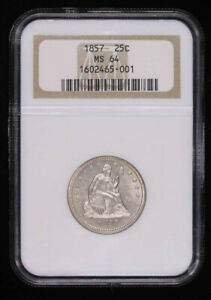 1857 SEATED LIBERTY SILVER QUARTER DOLLAR COIN NGC MS64