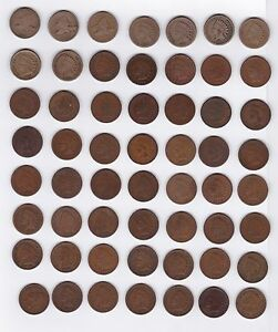 ALMOST COMPLETE SET INDIAN CENTS 1857 1909  MISSING ONLY 1877 1909 S  56 COINS