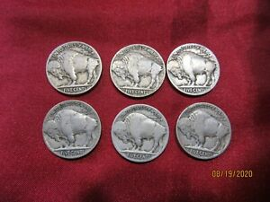 SIX COLLECTIBLE U.S. COINS  INDIAN HEAD NICKELS / BUFFALO NICKELS 1913 1915