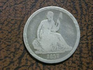 SEATED DIME   1837 NO STARS