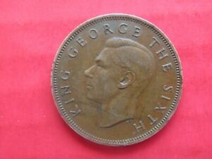 COIN NEW ZEALAND ONE PENNY 1951 KING GEORGE VI THE SIXTH 6TH